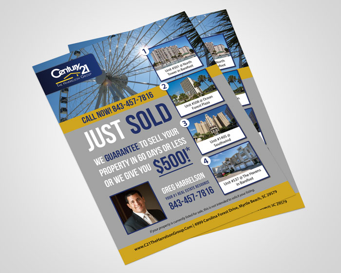 Creative Roots Marketing & Design - Greg Harrelson Just Sold Flyer Design