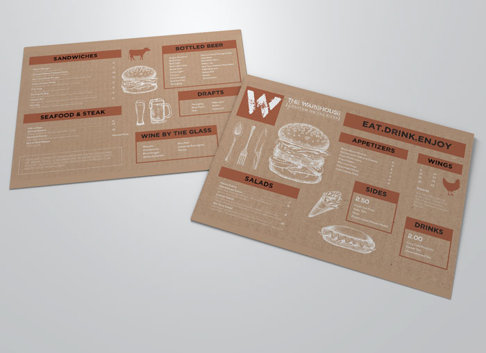 Creative Roots Marketing & Design - Warehouse Menu Design