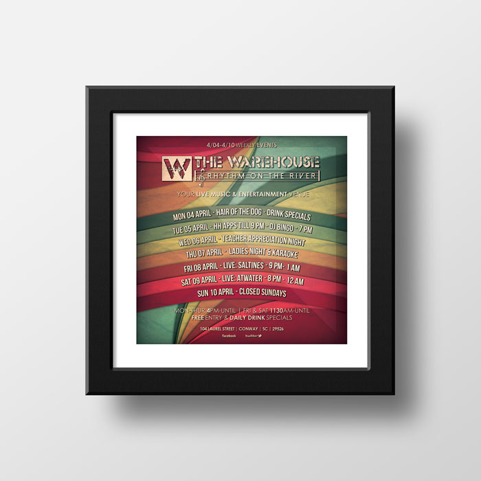 Creative Roots Marketing & Design - Warehouse Weekly Event Poster